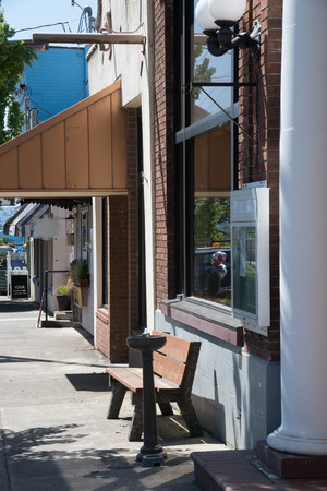 Commercial district store fronts in small town, Washington State.