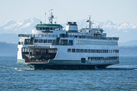 Washington State ferry inbound to Seattle on clear day