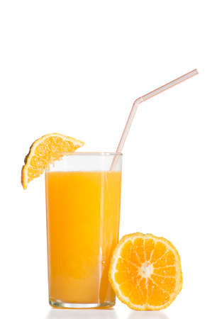 ingestion: Orange juice presented with fruit and sorbet ready to drink on white background