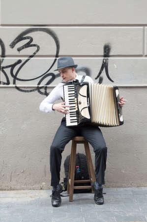 bandoneon: MONTEVIDEO, URUGUAY - OCTOBER 8, 2017: Street musician with accordion.