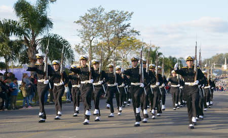 CANELONES, URUGUAY - MAY 18, 2018: Naval Battalion of Uruguay, 207th anniversary of Battle of the Stones. Sajtókép