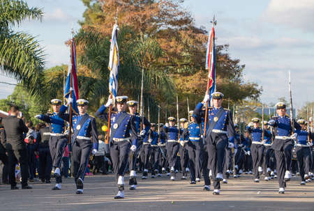 CANELONES, URUGUAY - MAY 18, 2018: Parade of the air force battalion of Uruguay, 207 anniversary of Battle of the Stones. Sajtókép