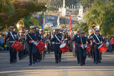 CANELONES, URUGUAY - MAY 18, 2018: Uruguayan army musical band, 207 anniversary of Battle of the Stones.