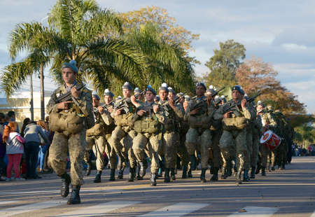 CANELONES, URUGUAY - MAY 18, 2018: Army of Uruguay, United Nations, 207 anniversary of Battle of the Stones. Sajtókép