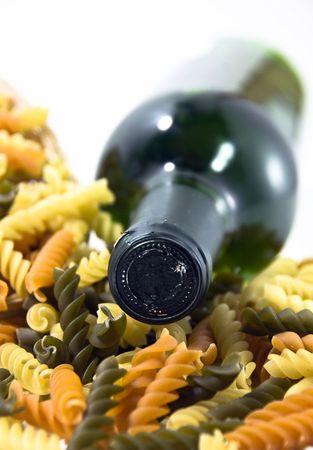 wine and macaroni Stock Photo