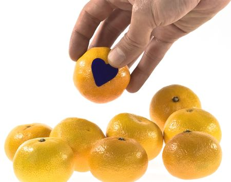 tangerines and hand Stock Photo - 3794207