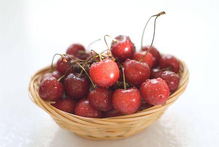 cherries in the basket Stock Photo