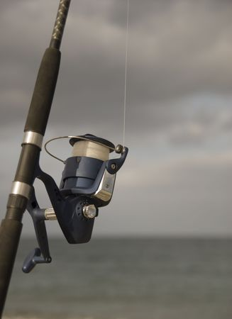 fishing pole: fishing pole and line Stock Photo