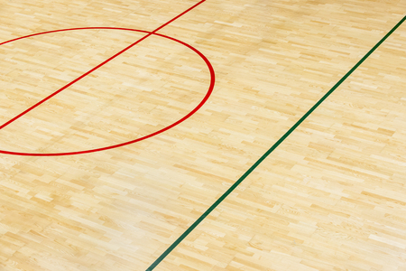 wooden floor volleyball, futsal, basketball, badminton court with light effect Wooden floor of sports hall with marking lines line on wooden floor indoor, gym court