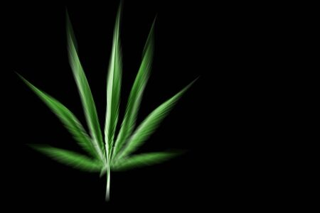 isolated single blue cannabis leaf on black background. Zooming filter.