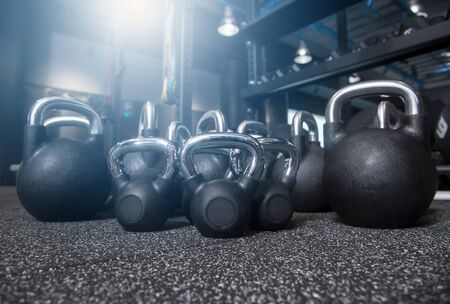 Close-up kettlebell sports equipment weight on the floor Banco de Imagens