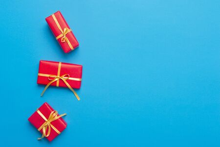 Christmas Gift Boxes Placed On Blue Background