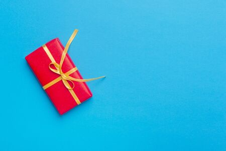 Christmas Gift Box Placed On Blue Background