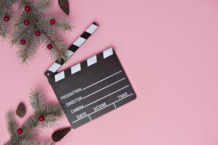 movie clapper on pink background, cinema concept Banco de Imagens