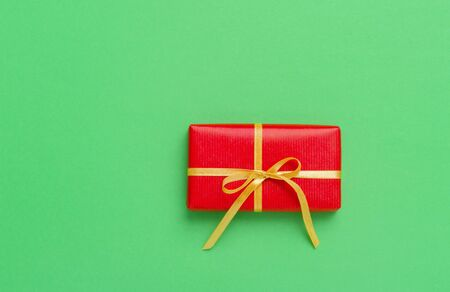 Christmas Gift Box Placed On Green Background