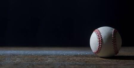 Baseball Ball On Wooden Table. Team sport Stok Fotoğraf