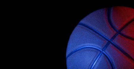 Detalle de primer plano del fondo de textura de pelota de baloncesto. Concepto de arte de banner de neón azul. Minimalismo, lugar para el texto