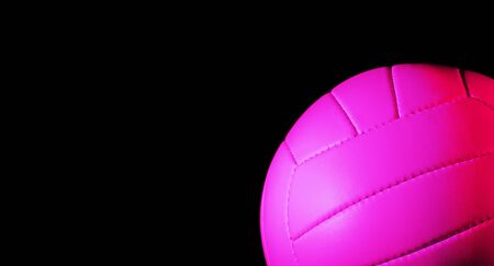 Volleyball ball isolated on black background. Blue neon Banner Art concept
