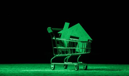 Wooden houses in a Supermarket trolley. The concept of buying a house or apartment. Green filter Standard-Bild