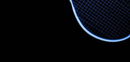 Close-up Blue Tennis Racket on Black Background