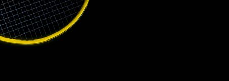 Close-up Yellow Tennis Racket on Black Background Banco de Imagens