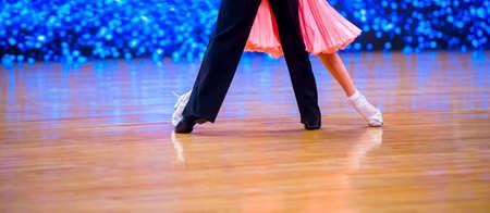 Man and woman dancer latino international dancing.  Ballroom dancing is a team sport Archivio Fotografico