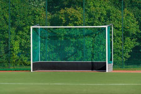 Field hockeyl stadium lifestyle, green grass and hockey gate. Team sport concept Фото со стока