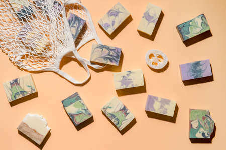 String bag or mesh bag with natural hand made soap. Zero waste, eco friendly cosmetics concept. 写真素材 - 158438094