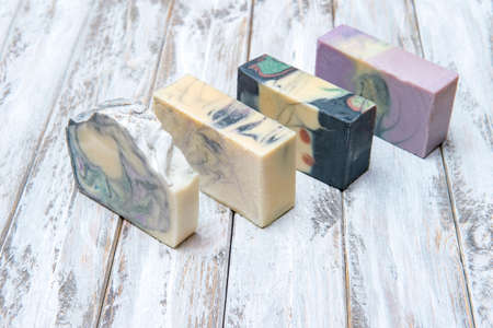 Hand made soap bars on wooden background. Zero waste concept 写真素材 - 158437828