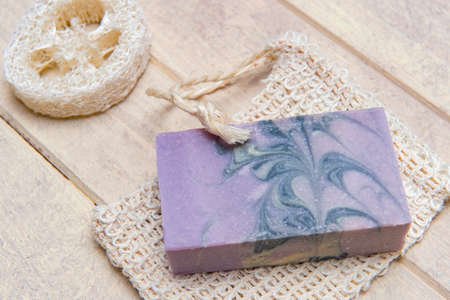 Natural handmade soap with lavender and essential oil on wooden background. Zero waste concept 写真素材 - 158438392