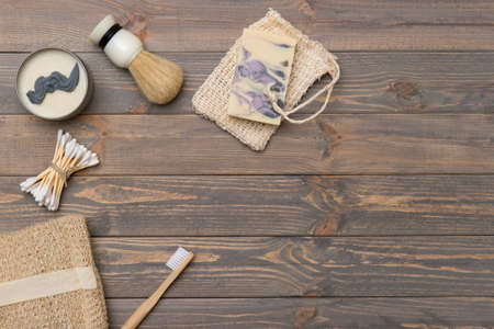 Flat lay shaving tools and bathroom accessories for man on wooden background. Zero waste concept. 写真素材 - 158474524