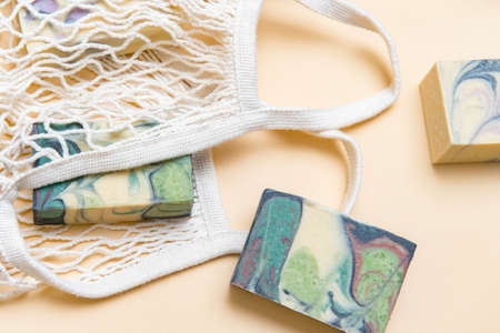 String bag or mesh bag with natural hand made soap. Zero waste, eco friendly cosmetics concept. 写真素材 - 158474548