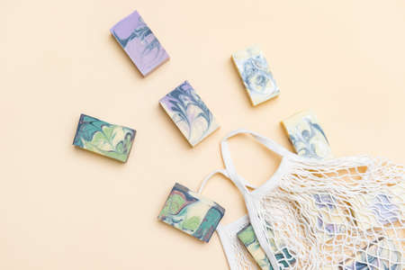 String bag or mesh bag with natural hand made soap. Zero waste, eco friendly cosmetics concept. 写真素材 - 158437801