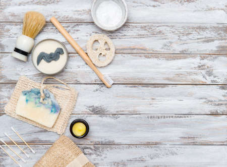 Zero waste bathroom accessories on wooden background. Natural eco bamboo product. Plastic free beauty essentials. 写真素材 - 158722899