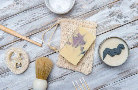 Zero waste bathroom accessories on wooden background. Natural eco bamboo product. Plastic free beauty essentials. 写真素材 - 158722794