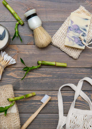 Zero waste bathroom accessories on wooden background. Natural eco bamboo product. Plastic free beauty essentials. 写真素材 - 158722720