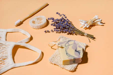 Top view of different hygiene and care items on cream color background, zero waste concept 写真素材 - 158744644