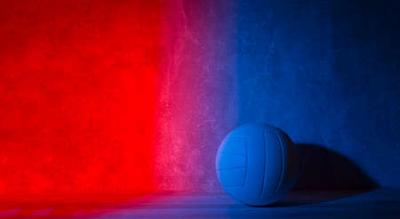 Volleyball ball isolated on neon background. Banner Art concept 写真素材