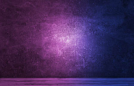 Neon light on concrete wall texture background. Lighting effect blue and red neon background for product display, banner, or mockup 写真素材