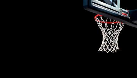 Basketball hoops against black background. Banner art concept