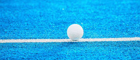 White ball for playing field hockey. Blue color filter