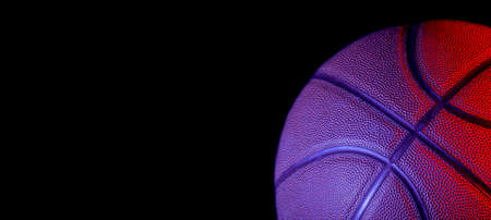 Closeup detail of blue basketball ball texture background. Team sport concept. Sports background for product display, banner, or mockup 免版税图像