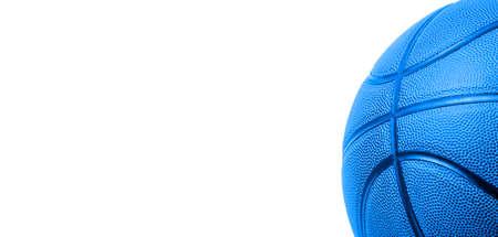 Closeup detail of blue basketball ball texture background. Team sport concept. Sports modern banner