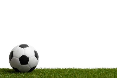 Soccer ballon green grass.  Professional sport concept. Horizontal sport poster, greeting cards, headers, website
