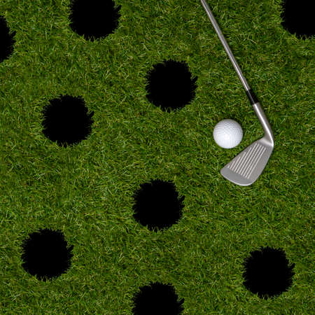 White golf ball, holes and stick on green grass. Horizontal sport poster, greeting cards, headers, website Archivio Fotografico