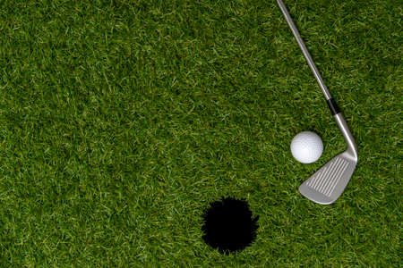 White golf ball, hole and stick on green grass. Horizontal sport poster, greeting cards, headers, website