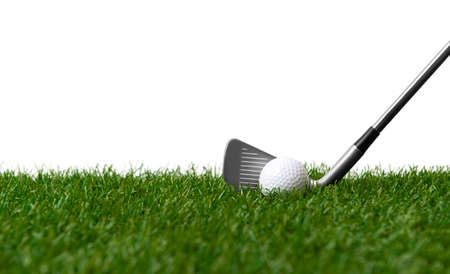 White golf ball and stick on green grass isolated on white. Horizontal sport poster, greeting cards, headers, website Archivio Fotografico