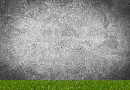 Green grass borders for decoration and covering on grey background Archivio Fotografico