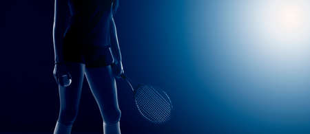 Tennis girl hold racket and ball on dark background. Player doing sport workout online. Sport and recreation concept. Black and white color filter Archivio Fotografico
