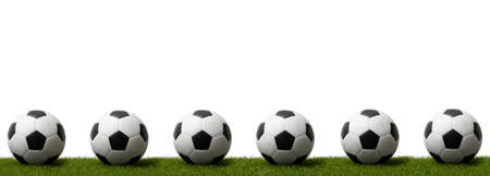 Soccer balls on green grass.  Professional sport concept. Horizontal sport poster, greeting cards, headers, website Archivio Fotografico